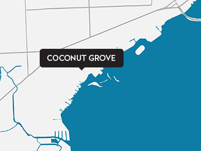 A drawn map of Coconut Grove
