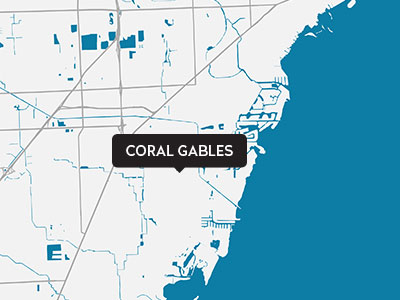 A drawn map of Coral Gables
