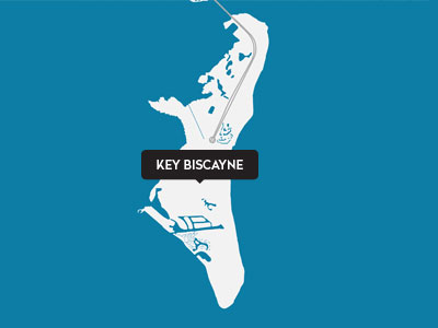 A drawn map of Key Biscayne