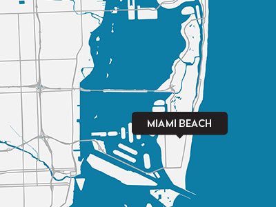 A drawn map of Miami Beach