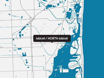 A drawn map of Miami and North Miami